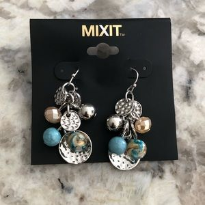 Silver, Turquoise and Brown Cluster Earrings